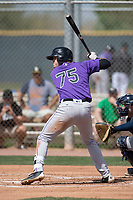 Colorado Rockies first baseman Sean Bouchard (75) during a Minor League Spring Training game against the Milwaukee Brewers at Salt River Fields at Talking Stick on March 17, 2018 in Scottsdale, Arizona. (Zachary Lucy/Four Seam Images)