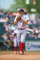 Reading Fightin Phils starting pitcher Anthony Vasquez (25) during a game against the New Hampshire Fisher Cats on May 30, 2016 at Northeast Delta Dental Stadium in Manchester, New Hampshire.  New Hampshire defeated Reading 9-1.  (Mike Janes/Four Seam Images)