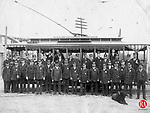 Connecticut Co. trolley workers posed in front of a Waterbury to Naugatuck trolley for this 1894 photograph.