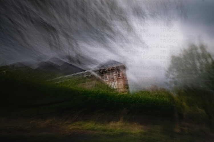 A blurry abstract photo of a building