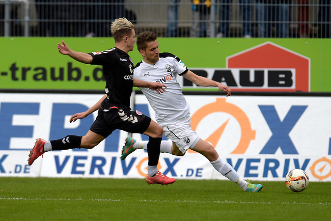 GER - Sandhausen, Germany, March 19: During the 2. Bundesliga soccer match between SV Sandhausen (white) and FC ST. Pauli (grey) on March 19, 2016 at Hardtwaldstadion in Sandhausen, Germany. (Photo by Dirk Markgraf / www.265-images.com) *** Local caption *** Ranisav Jovanovic #26 of SV Sandhausen, Marc Rzatkowski #11 of FC St. Pauli