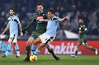 11th January 2020; Stadio Olympico, Rome, Italy; Serie A Football, Lazio versus Napoli;  Fabian Ruiz of Napoli is held off by Lucas Leiva Pezzini of Lazio - Editorial Use