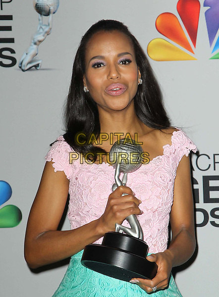 Kerry Washington.44th NAACP Image Awards - Press Room Held At The Shrine Auditorium, Los Angeles, California, USA, .1st February 2013..half length pink green brocade pattern dress top skirt winner trophy award .CAP/ADM/KB.©Kevan Brooks/AdMedia/Capital Pictures.