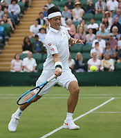 Kei Nishikori (JPN) during his match against Mikhail Kukushkin (KAZ) in their Gentleman's Singles Fourth Round match<br /> <br /> Photographer Rob Newell/CameraSport<br /> <br /> Wimbledon Lawn Tennis Championships - Day 7 - Monday 8th July 2019 -  All England Lawn Tennis and Croquet Club - Wimbledon - London - England<br /> <br /> World Copyright © 2019 CameraSport. All rights reserved. 43 Linden Ave. Countesthorpe. Leicester. England. LE8 5PG - Tel: +44 (0) 116 277 4147 - admin@camerasport.com - www.camerasport.com