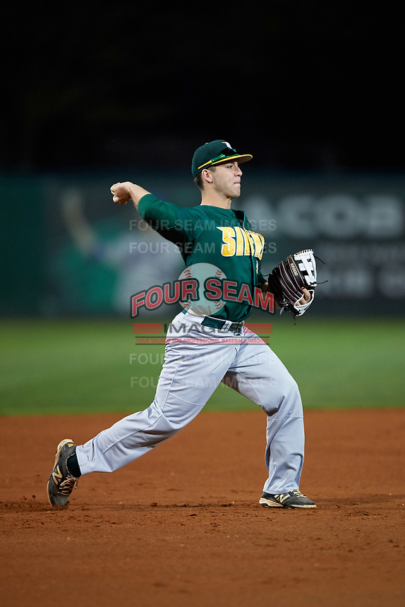 Siena Saints third baseman Jordan Folgers (12) during a game against the Stetson Hatters on February 23, 2016 at Melching Field at Conrad Park in DeLand, Florida.  Stetson defeated Siena 5-3.  (Mike Janes/Four Seam Images)