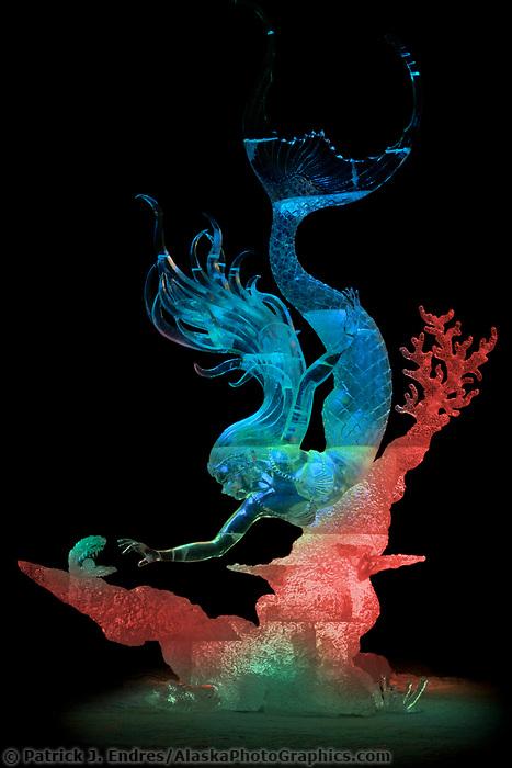"""Mysterious Pearl"" by Junichi Nakamura, Shinichi Sawamura, Derek Maxfield, Daniel Reboltz.  2006 world ice art championships multiblock competition in Fairbanks, AK"