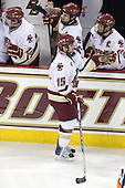 Jimmy Hayes (BC - 10), Matt Lombardi (BC - 24), Joe Whitney (BC - 15), Matt Price (BC - 25) - The Boston College Eagles defeated the University of Massachusetts-Amherst Minutemen 2-1 (OT) on Friday, February 26, 2010, at Conte Forum in Chestnut Hill, Massachusetts.