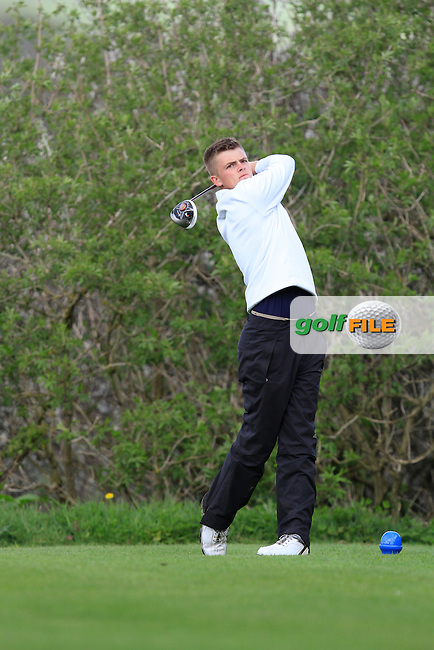 Alac Myles (Newlands) on the 15th tee during day 1 of The Munster Youths' Amateur Open Championship in Dungarvan Golf Club on Wednesday 23nd April 2014.<br /> Picture:  Thos Caffrey / www.golffile.ie