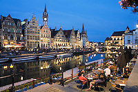 Belgium, Oost Vlaanderen, Ghent: Evening cafe scene along the Graslei