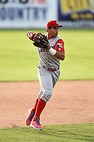 Williamsport Crosscutters third baseman Jan Hernandez (11) throws to first during the first game of a doubleheader against the Batavia Muckdogs on July 29, 2014 at Dwyer Stadium in Batavia, New York.  Williamsport defeated Batavia 3-2.  (Mike Janes/Four Seam Images)