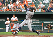 New York Yankees shortstop Didi Gregorius (18) flies out ion the first inning against the Baltimore Orioles at Oriole Park at Camden Yards in Baltimore, MD on Wednesday, July 11, 2018.<br /> Credit: Ron Sachs / CNP<br /> (RESTRICTION: NO New York or New Jersey Newspapers or newspapers within a 75 mile radius of New York City)