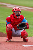 Peoria Chiefs catcher Dennis Ortega (28) warms up in the bullpen prior to a Midwest League game against the Quad Cities River Bandits on May 27, 2018 at Modern Woodmen Park in Davenport, Iowa. Quad Cities defeated Peoria 8-3. (Brad Krause/Four Seam Images)