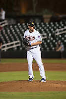 Salt River Rafters relief pitcher Adam Bray (16), of the Minnesota Twins organization, gets ready to deliver a pitch during an Arizona Fall League game against the Scottsdale Scorpions at Salt River Fields at Talking Stick on October 11, 2018 in Scottsdale, Arizona. Salt River defeated Scottsdale 7-6. (Zachary Lucy/Four Seam Images)