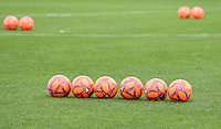 20190813 - DENDERLEEUW, BELGIUM : illustration picture shows balls prior to warming up of the female soccer game between the Greek PAOK Thessaloniki Ladies FC and the Norwegian LSK Kvinner Fotballklubb Ladies , the third and final game for both teams in the Uefa Womens Champions League Qualifying round in group 8 , Tuesday 13 th August 2019 at the Van Roy Stadium in Denderleeuw  , Belgium  .  PHOTO SPORTPIX.BE for NTB | DAVID CATRY