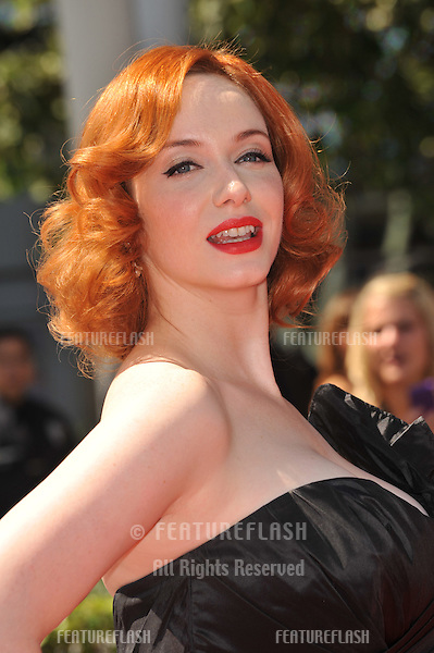 Christina Hendricks at the 2010 Creative Arts Emmy Awards at the Nokia Theatre L.A. Live..August 21, 2010  Los Angeles, CA.Picture: Paul Smith / Featureflash
