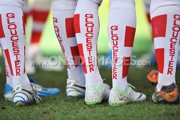A general view of Gloucester Rugby branded socks during the pre-match warm-up. Aviva Premiership match, between Leicester Tigers and Gloucester Rugby on February 16, 2014 at Welford Road in Leicester, England. Photo by: Patrick Khachfe / JMP