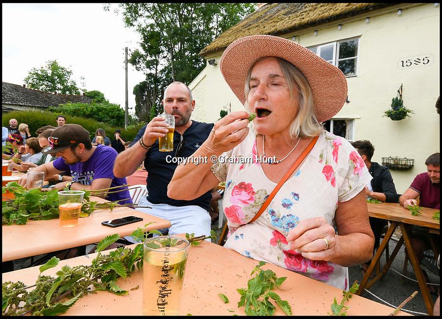 BNPS.co.uk (01202 558833)<br /> Pic: Graham Hunt/BNPS<br /> <br /> Lindie Rogers competing in the World Nettle Eating Championships at the Bottle Inn, Marshwood, Dorset, UK.