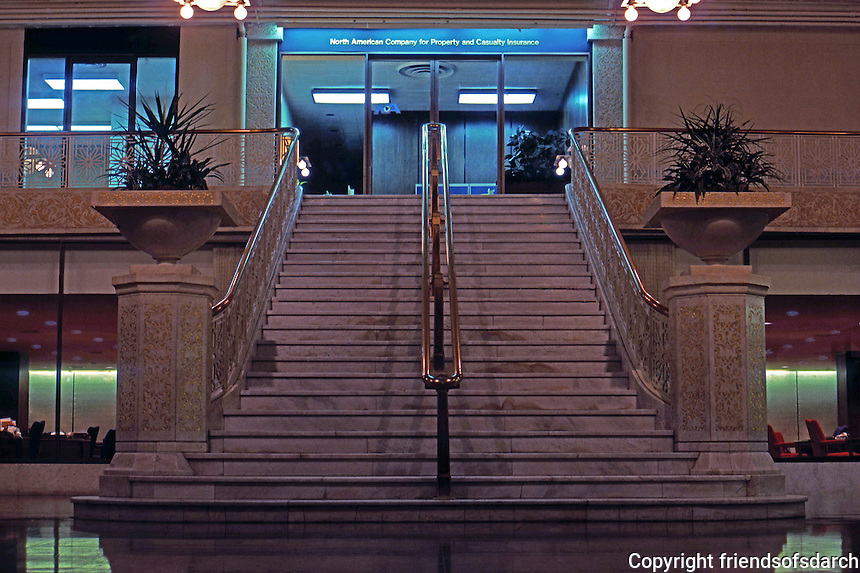 F.L. Wright: Rookery Building, Lobby. Main Stairway, LaSalle St. Entrance.  Photo '76.