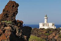- island of Pantelleria, lighthouse of Spadillo point, lava casting....- isola di Pantelleria, faro di punta Spadillo, colata di lava