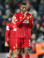 30th November 2019; Anfield, Liverpool, Merseyside, England; English Premier League Football, Liverpool versus Brighton and Hove Albion; Georginio Wijnaldum of Liverpool returns the applause from supporters on the Kop after the final whistle  - Strictly Editorial Use Only. No use with unauthorized audio, video, data, fixture lists, club/league logos or 'live' services. Online in-match use limited to 120 images, no video emulation. No use in betting, games or single club/league/player publications
