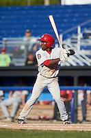 Auburn Doubledays center fielder Daniel Johnson (30) at bat during the second game of a doubleheader against the Batavia Muckdogs on September 4, 2016 at Dwyer Stadium in Batavia, New York.  Batavia defeated Auburn 6-5. (Mike Janes/Four Seam Images)