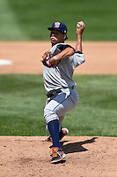Binghamton Mets starting pitcher Hansel Robles (45) delivers a pitch during a game against the Erie Seawolves on July 13, 2014 at Jerry Uht Park in Erie, Pennsylvania.  Binghamton defeated Erie 5-4.  (Mike Janes/Four Seam Images)