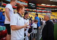 Former All Whites coach Ricki Herbert chats with fans after the 2018 FIFA World Cup Russia first-leg playoff football match between the NZ All Whites and Peru at Westpac Stadium in Wellington, New Zealand on Saturday, 11 November 2017. Photo: Dave Lintott / lintottphoto.co.nz