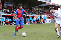 Fejiri Okenabirhie of Dagenham and Liam Ridehalgh of Tranmere Rovers during Dagenham & Redbridge vs Tranmere Rovers, Vanarama National League Football at the Chigwell Construction Stadium on 10th March 2018
