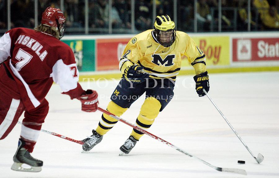 25 Nov 2005: Michigan forward Zac MacVoy (12) during No. 2 Wisconsin's College Hockey Showcase match vs No. 1 Michigan at Yost Ice Arena in Ann Arbor, MI. The Badgers won 3-2.