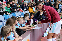 Burnley's Matthew Lowton signs autographs for fans during the pre-match warm-up <br /> <br /> Photographer Rich Linley/CameraSport<br /> <br /> The Premier League - Burnley v Manchester City - Sunday 28th April 2019 - Turf Moor - Burnley<br /> <br /> World Copyright © 2019 CameraSport. All rights reserved. 43 Linden Ave. Countesthorpe. Leicester. England. LE8 5PG - Tel: +44 (0) 116 277 4147 - admin@camerasport.com - www.camerasport.com