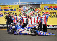 Jul. 28, 2013; Sonoma, CA, USA: NHRA pro stock motorcycle rider Hector Arana Jr celebrates with crew after winning the Sonoma Nationals at Sonoma Raceway. Mandatory Credit: Mark J. Rebilas-
