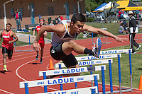 Lafayette senior Chris Roggenburg won the 110 and 300 hurdles at the 2016 MSHSAA Class 5 District 2 Track and Field Meet at Ladue High School, St. Louis, Saturday, May 14.