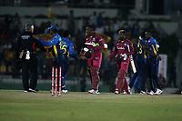 February 26th 2020,the Mahinda Rajapaksha International Stadium, Hambantota, Sri Lanka; One Day International cricket, Sri Lanka versus West Indies; the players shake hands with the umpire as Srilanka win the second ODI and take the series