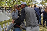 Lucas Bjerregaard (DEN) kisses his fiancee, Henriette after his match against Matt Kuchar (USA) during day 5 of the WGC Dell Match Play, at the Austin Country Club, Austin, Texas, USA. 1/1/2014.<br /> Picture: Golffile | Ken Murray<br /> <br /> <br /> All photo usage must carry mandatory copyright credit (&copy; Golffile | Ken Murray)