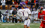 Tehoka Nanticoke (#1) holds posession as UAlbany Men's Lacrosse defeats Richmond 18-9 on May 12 at Casey Stadium in the NCAA tournament first round.