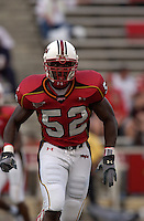 11 September 2004: D'Qwell Jackson...Maryland defeated Temple 45-22 at Byrd Stadium in College Park, MD....