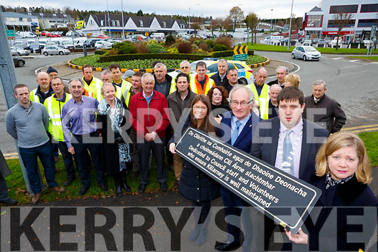 Killarney Mayor Niall Kelleher, Angela McAllen Killarney MD manager, Eileen O'Donoghue and Cllr Michael Glesson at the dedicating the Park Road roundabout to the Council staff and Tidy towns volunteers on Tuesday