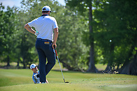 Jon Rahm (ESP) watches Wesley Bryan (USA) hit from the trap on 2 during Round 1 of the Zurich Classic of New Orl, TPC Louisiana, Avondale, Louisiana, USA. 4/26/2018.<br /> Picture: Golffile | Ken Murray<br /> <br /> <br /> All photo usage must carry mandatory copyright credit (&copy; Golffile | Ken Murray)