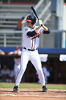 Bryce Ball (19) of the Danville Braves at bat against the Bluefield Blue Jays at American Legion Post 325 Field on July 28, 2019 in Danville, Virginia. The Blue Jays defeated the Braves 9-7. (Tracy Proffitt/Four Seam Images)