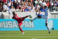 Carson, CA - Sunday, February 8, 2015 Gyasi Zardes (20) of the USMNT and Luis Ovalle (17) of Panama. The USMNT defeated Panama 2-0 during an international friendly at the StubHub Center.