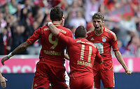 FUSSBALL   1. BUNDESLIGA  SAISON 2012/2013   3. Spieltag FC Bayern Muenchen - FSV Mainz 05     15.09.2012 Mario Mandzukic, Xherdan Shaqiri  und Thomas Mueller (v. li., FC Bayern Muenchen)