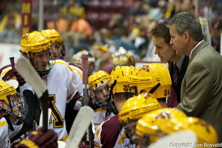 21 Oct 11: Don Lucia (Minnesota - Head Coach), Minnesota bench.  The University of Minnesota Golden Gophers host the University of Vermont Catamounts in a non-conference matchup at Mariucci Arena in Minneapolis, MN.