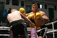 Ryan Copland (black shorts) defeats M J Hall during a Boxing Show at York Hall on 7th September 2019