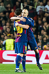 Andres Iniesta Lujan of FC Barcelona hugs Lionel Andres Messi of FC Barcelona before leaving the pitch during the UEFA Champions League 2017-18 Round of 16 (2nd leg) match between FC Barcelona and Chelsea FC at Camp Nou on 14 March 2018 in Barcelona, Spain. Photo by Vicens Gimenez / Power Sport Images