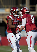 Hawgs Illustrated/BEN GOFF <br /> Jordan Jones, Arkansas wide receiver, congratulates quarterback Austin Allen on a touchdown in the first quarter Friday, Nov. 24, 2017, at Reynolds Razorback Stadium in Fayetteville.
