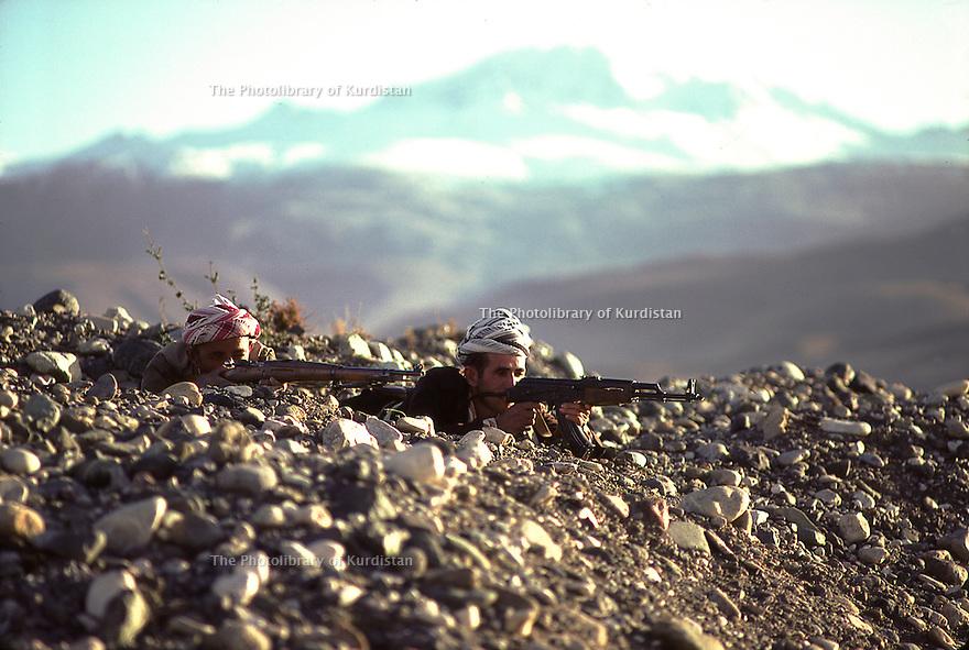 Iran 1979.Two peshmergas with rifles