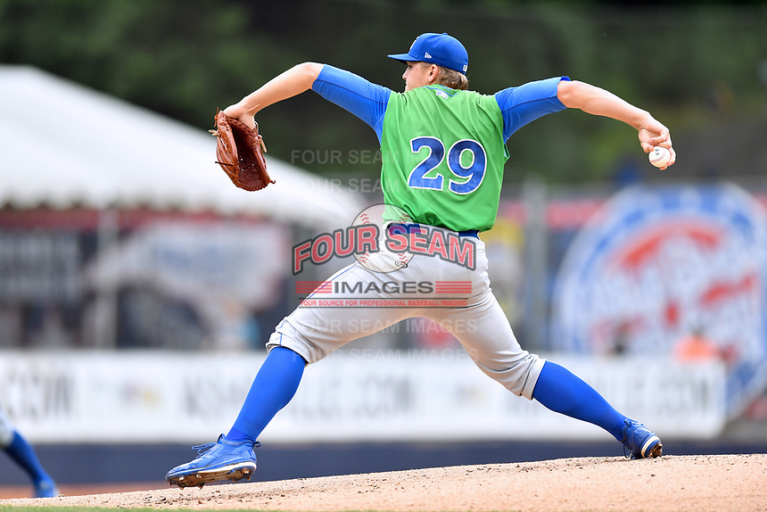 Lexington Legends starting pitcher Jace Vines (29) delivers a pitch during a game against the Asheville Tourists at McCormick Field on May 29, 2017 in , North Carolina. The Legends defeated the Tourists 6-2. (Tony Farlow/Four Seam Images)