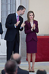 Spanish Royals King Felipe VI and Queen Letizia attend the delivery of the Gold Medals to the Merit in Fine Arts 2013 at El Pardo Place in Madrid. February 02, 2015. (ALTERPHOTOS/Caro Marin)