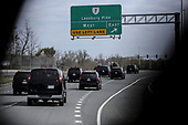 United States President Donald J. Trump's motorcade drives towards the Trump National Golf Club in Sterling, Virginia, on April 7, 2019 in Washington, DC. <br /> Credit: Oliver Contreras / Pool via CNP