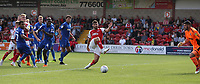 Fleetwood Town's Ched Evans miscues his shot with only the goalkeeper to beat<br /> <br /> Photographer Stephen White/CameraSport<br /> <br /> The EFL Sky Bet League One - Fleetwood Town v AFC Wimbledon - Saturday 4th August 2018 - Highbury Stadium - Fleetwood<br /> <br /> World Copyright &copy; 2018 CameraSport. All rights reserved. 43 Linden Ave. Countesthorpe. Leicester. England. LE8 5PG - Tel: +44 (0) 116 277 4147 - admin@camerasport.com - www.camerasport.com
